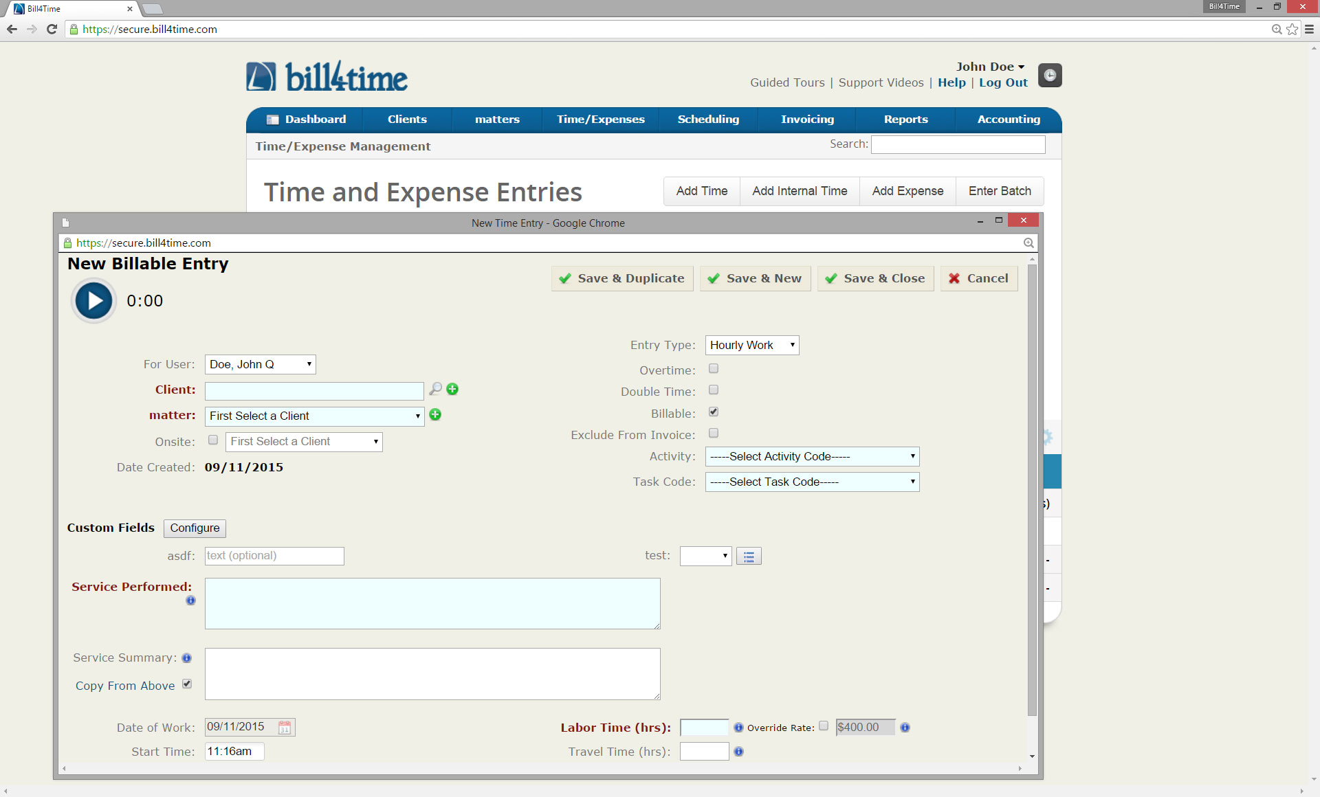 Bill4Time Software - Billable entry