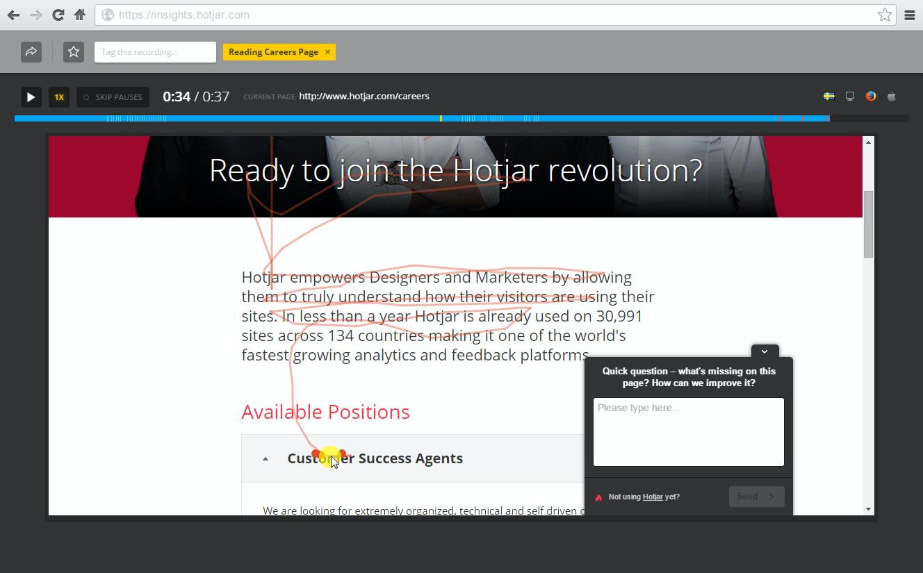 Hotjar's visitor recording records real visitor behavior on your website