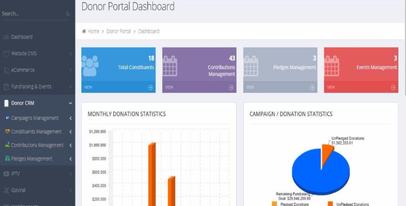 Missio donor portal dashboard