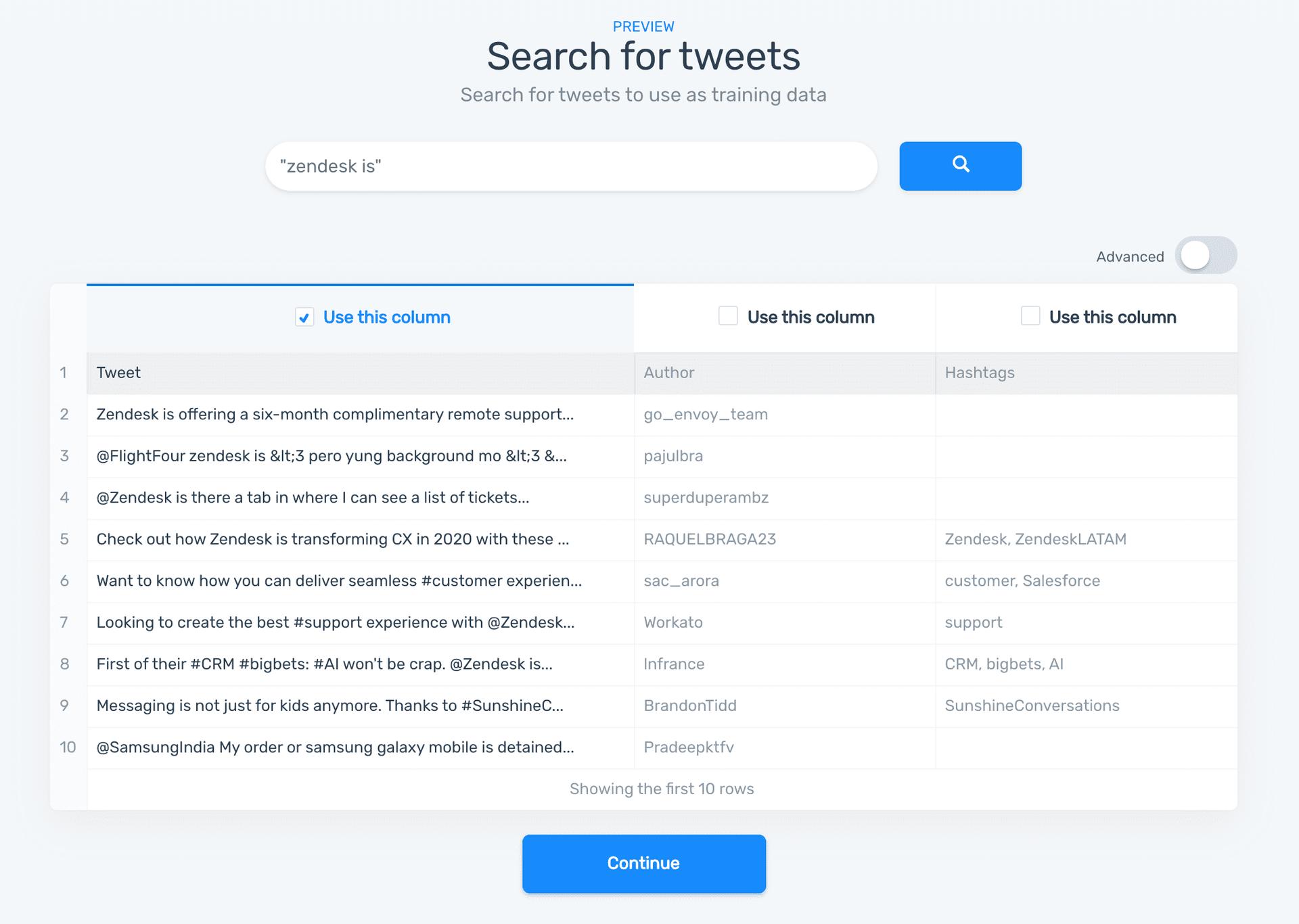 MonkeyLearn tweet search
