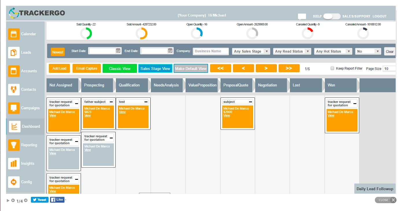 TrackerGO CRM screenshot: Drag and drop features in the sales stage view for lead management