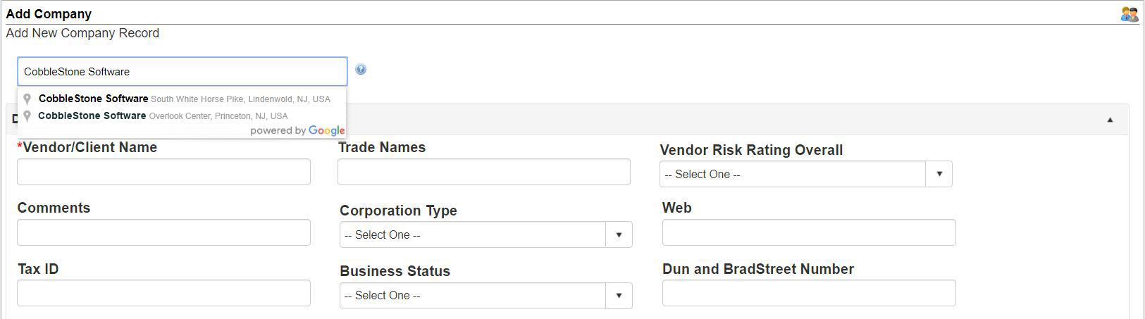 CobbleStone Google Integration for easy vendor lookup.