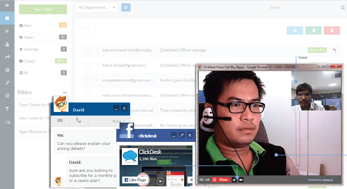 2-way video chat can be used as a support option
