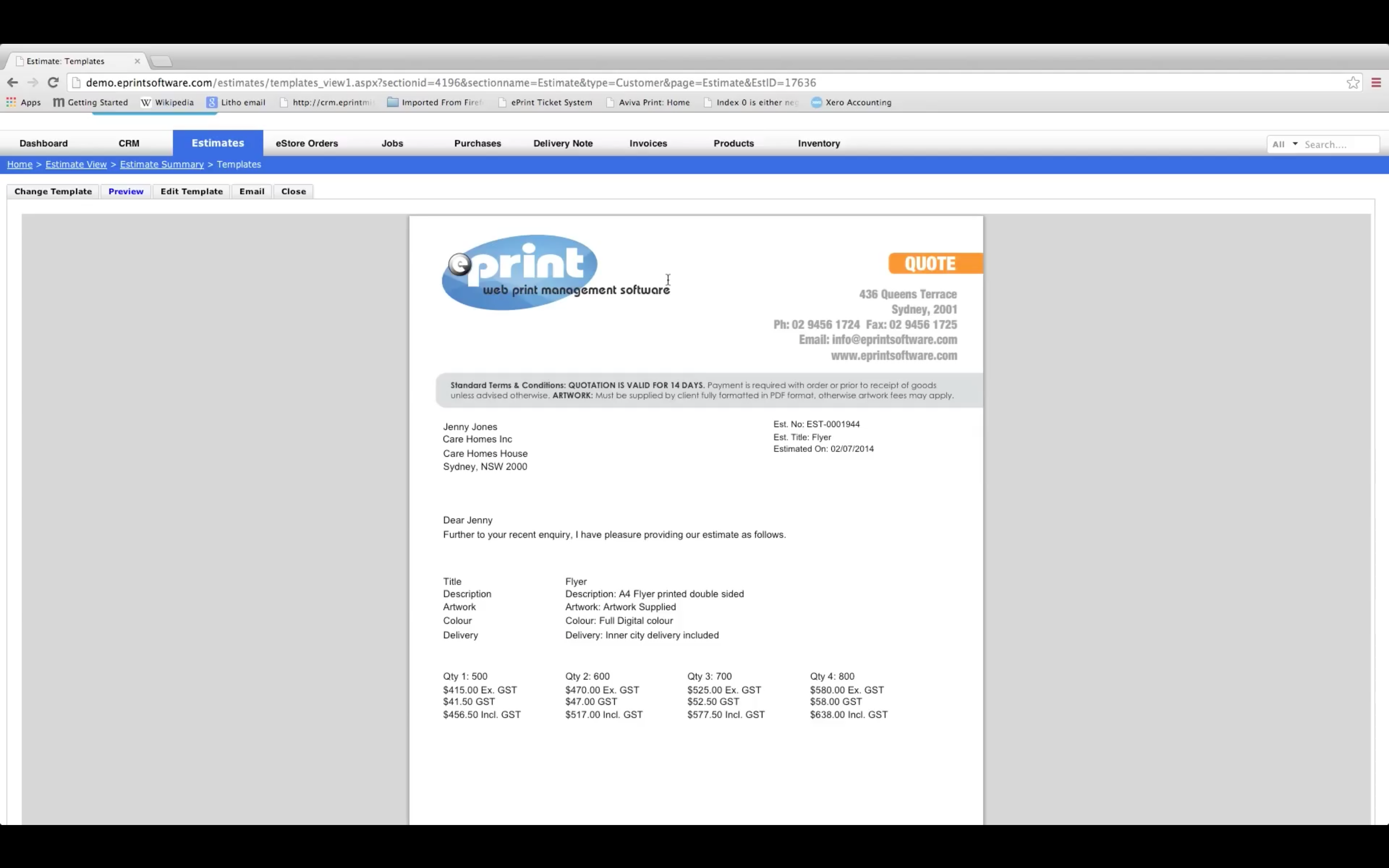 Estimates and invoices can be customized with company branding and exported or sent to customers via email
