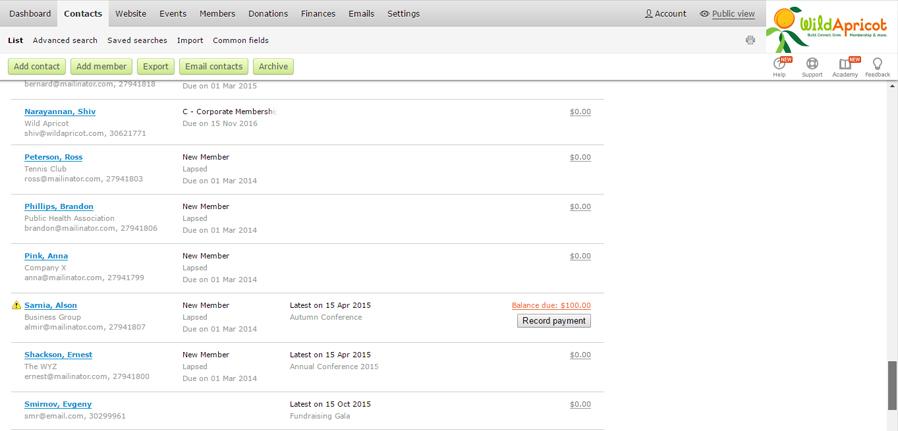 WA Database Screenshot