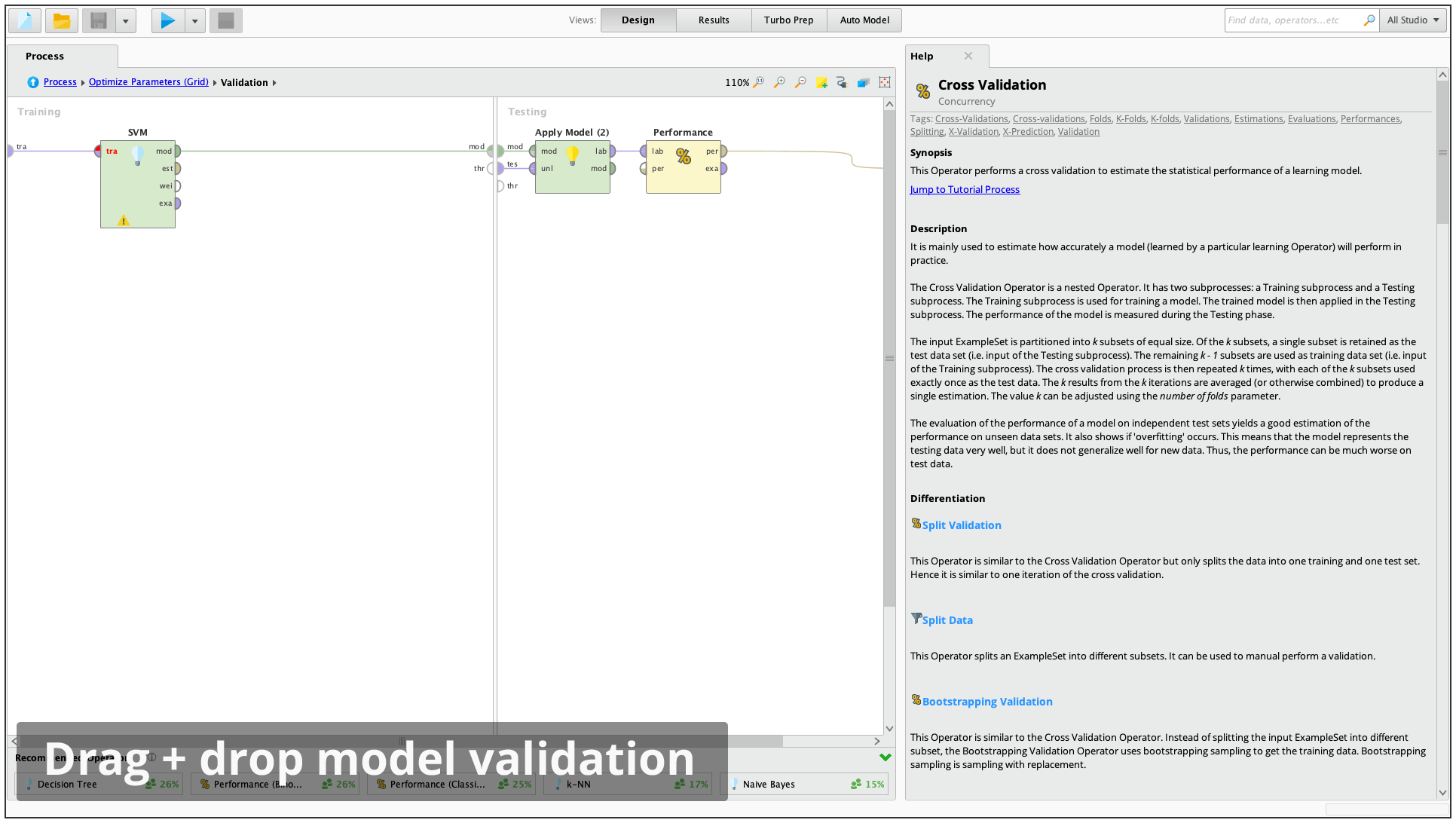 RapidMiner model validation screenshot