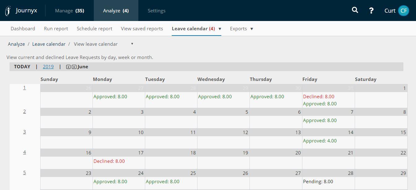 Journyx Software - Leave Request Calendar