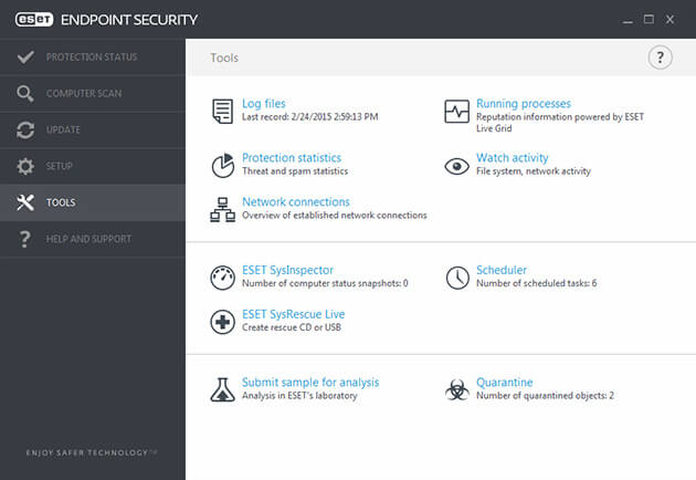 ESET Endpoint Security tools screenshot