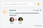 Jostle screenshot: Recognize your employees by sending a SHOUTOUT.