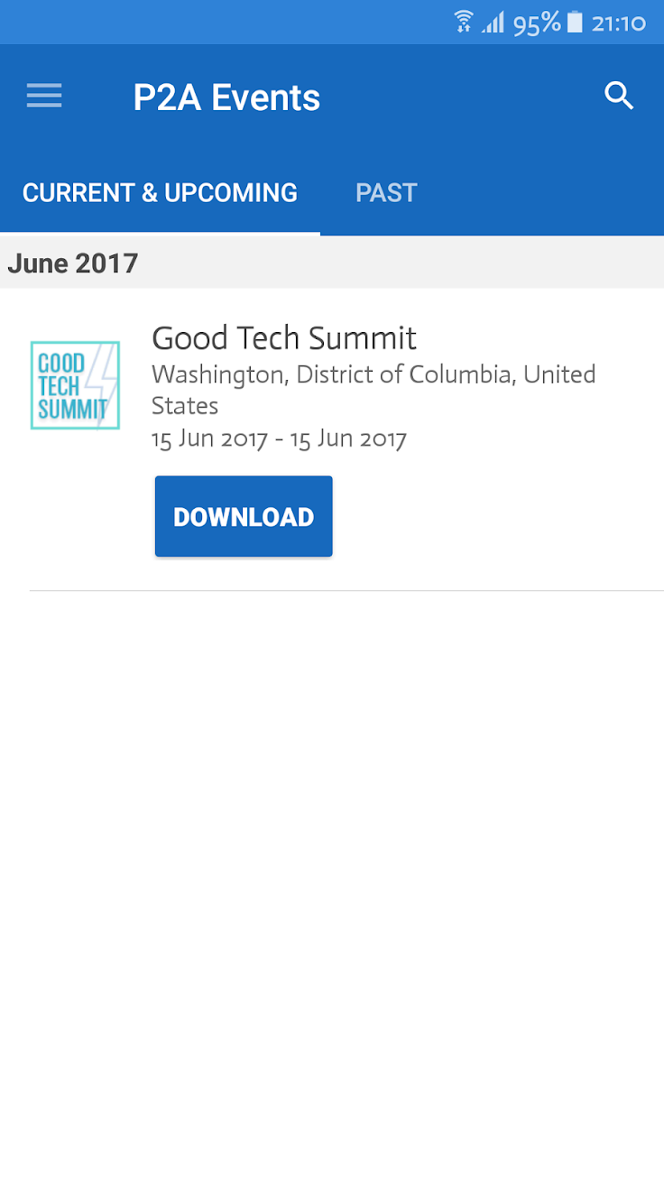 Phone2Action Events is a mobile app for iOS and Android devices, providing a hub for events hosted by Phone2Action such as Good Tech Summit