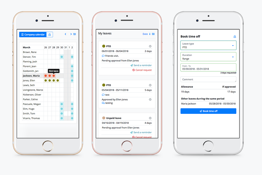 Users can track and manage their leave from their smartphone