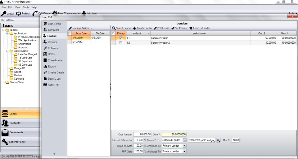 LOAN SERVICING SOFT screenshot: LOAN SERVICING SOFT: lender database page