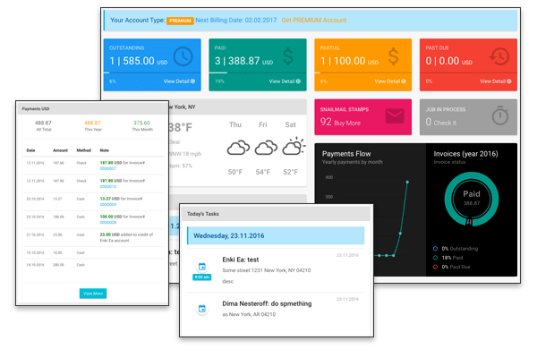 The dashboard gives users an at-a-glance view of performance metrics, financial data, and upcoming tasks