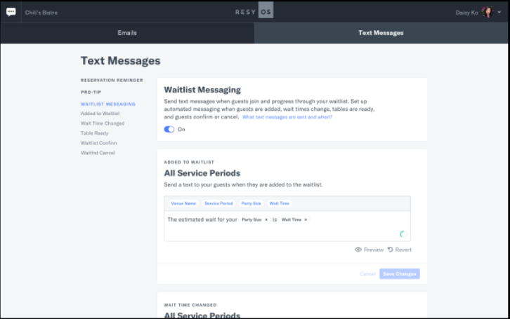 Resy OS text messages