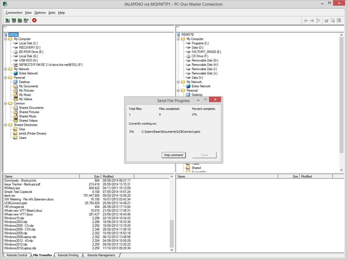 Sending files between PCs