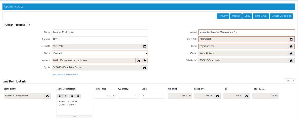 SutiCRM Software - Invoice
