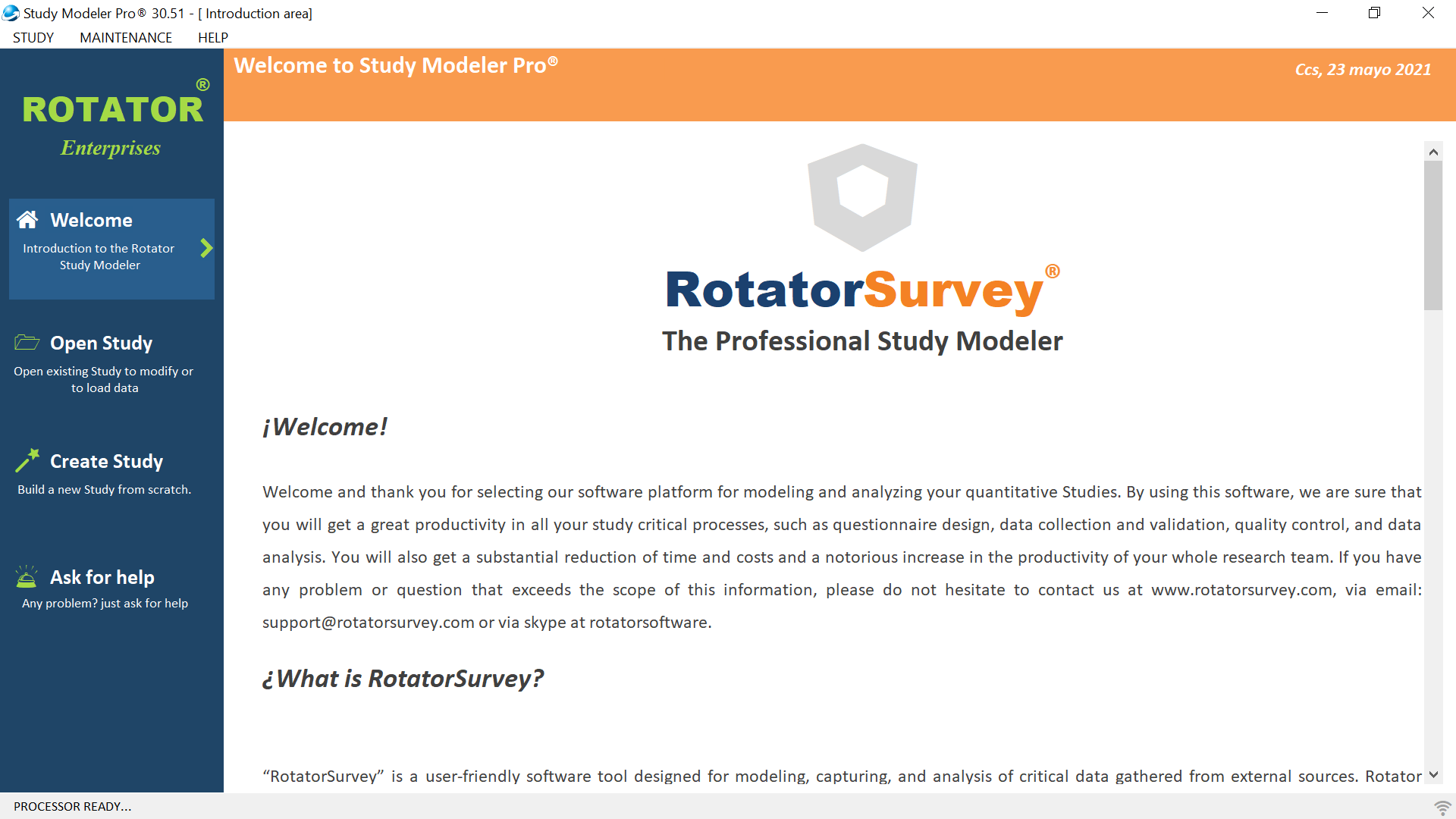 """""""Rotator Sudy Modeler"""" is a powerful software tool that allows you to create and Administer your Survey. Rotator is loved by novice and and advanced users."""