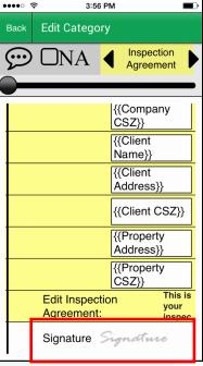 Palm-Tech Home Inspection Software Software - Palm-Tech home inspection signature capture screenshot