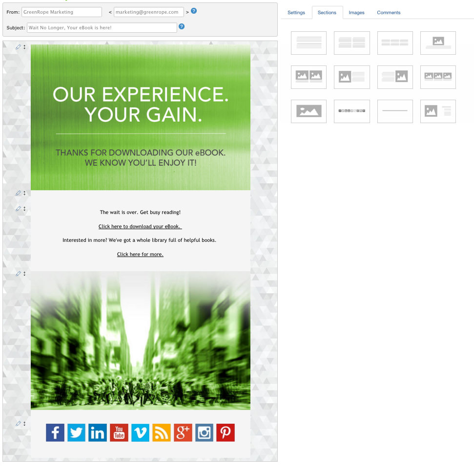 Use templates to create emails and landing pages