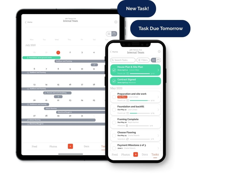 Track client selections, change orders, punch lists, and more. With project Schedule you, your team and clients will always know what's on deck.