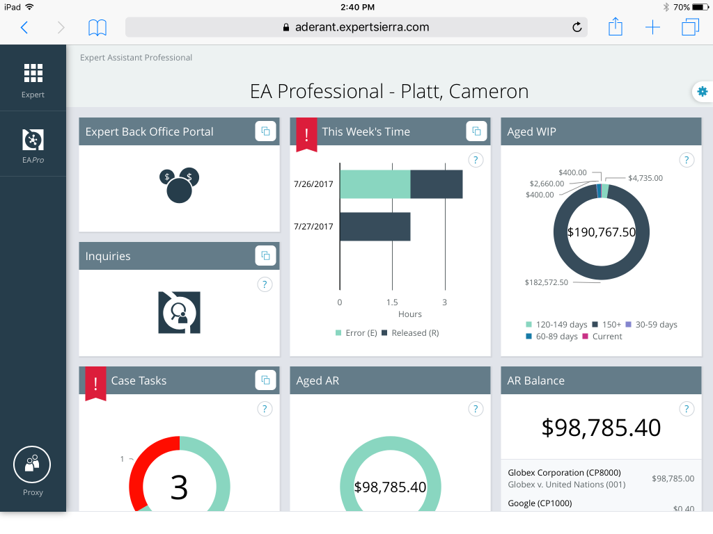 Expert Sierra dashboard screenshot