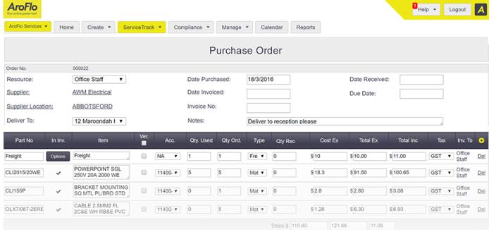 AroFlo purchase order