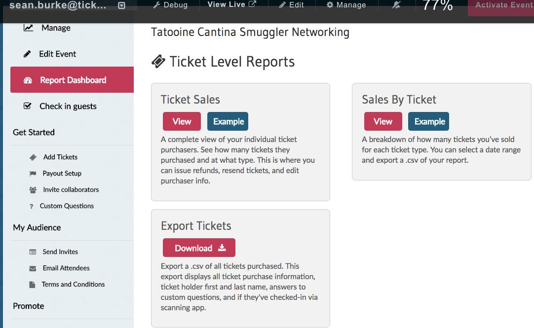 Ticketbud Software - Ticketbud report dashboard