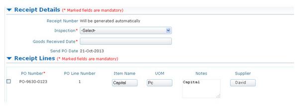 SutiProcure Software - Receipt details