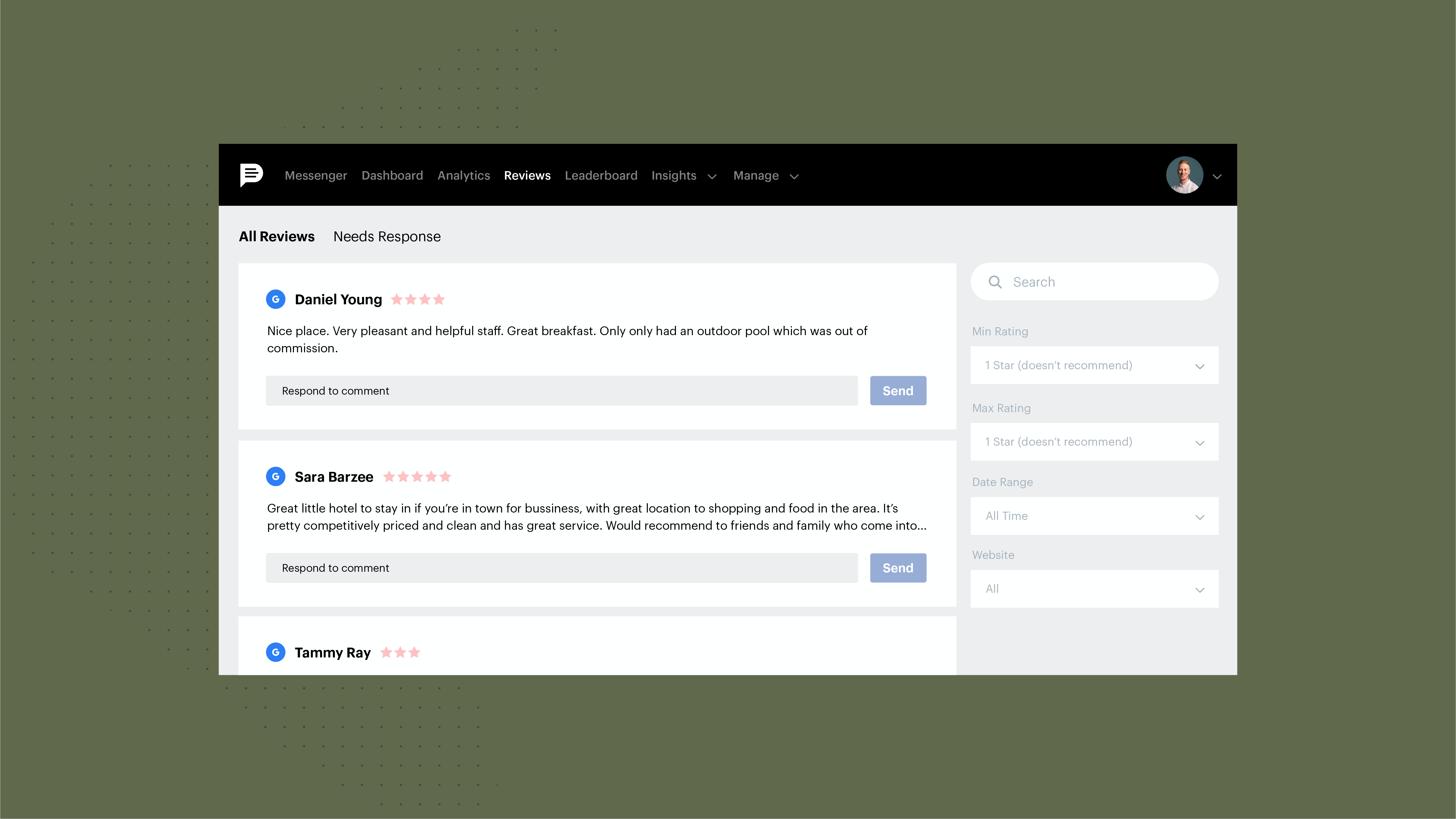 Review generation, review monitoring and responding to reviews is easier with Podium.