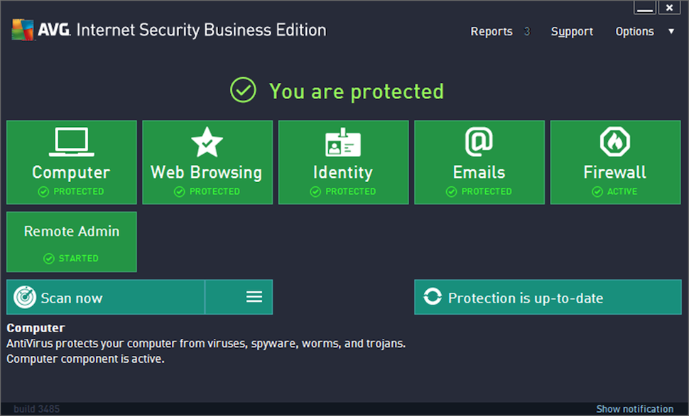 AVG Internet Security Business Edition Software - Main screen