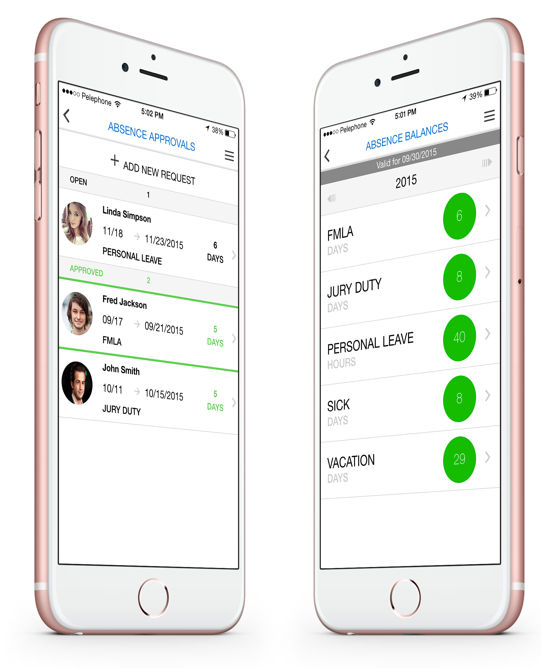 Synerion Software - Synerion Mobile- Absence approval for managers and absence balance page for employee.