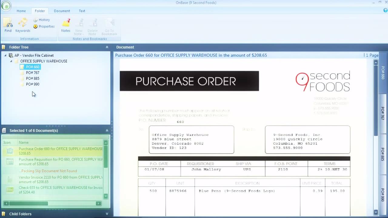 OnBase screenshot: OnBase purchase order