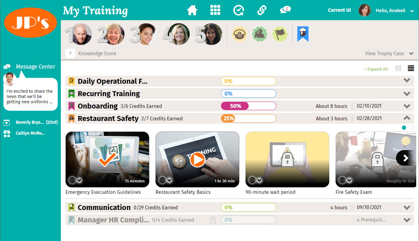 Learner View - My Training List View