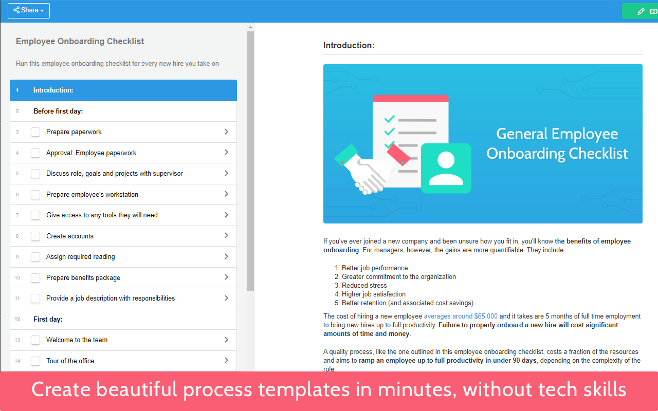 Create beautiful process templates in minutes, without tech skills