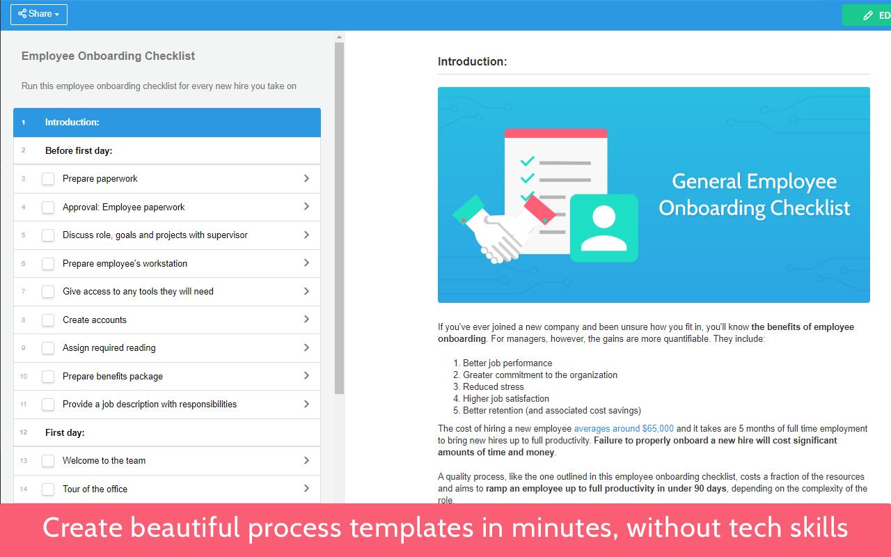 Process Street screenshot: Create beautiful process templates in minutes, without tech skills