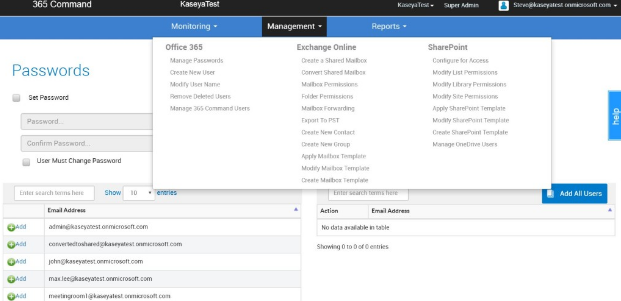 Users can manage Office 365, Exchange Online and SharePoint from a single location