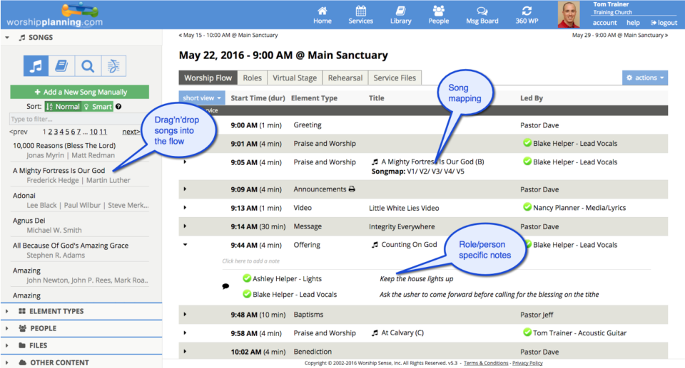 The drag-and-drop worship flow editor allows users to plan services to the second