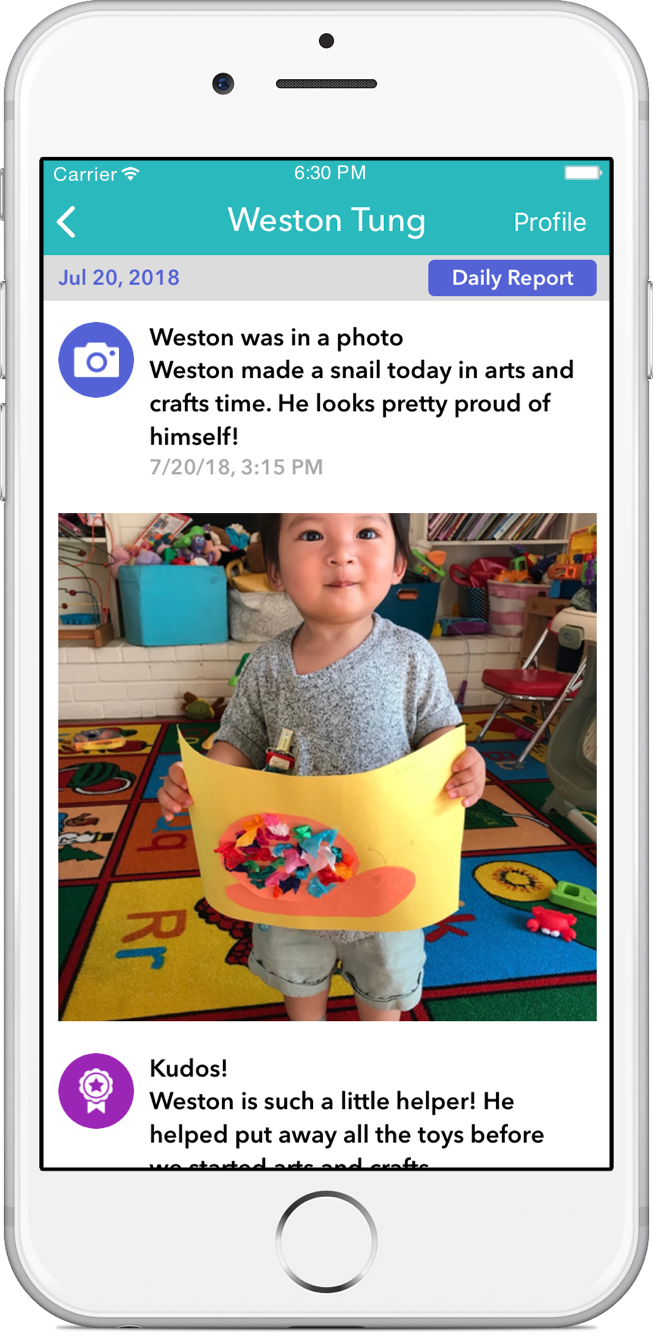 Parents love to get real-time updates of their child's activities in the timeline.