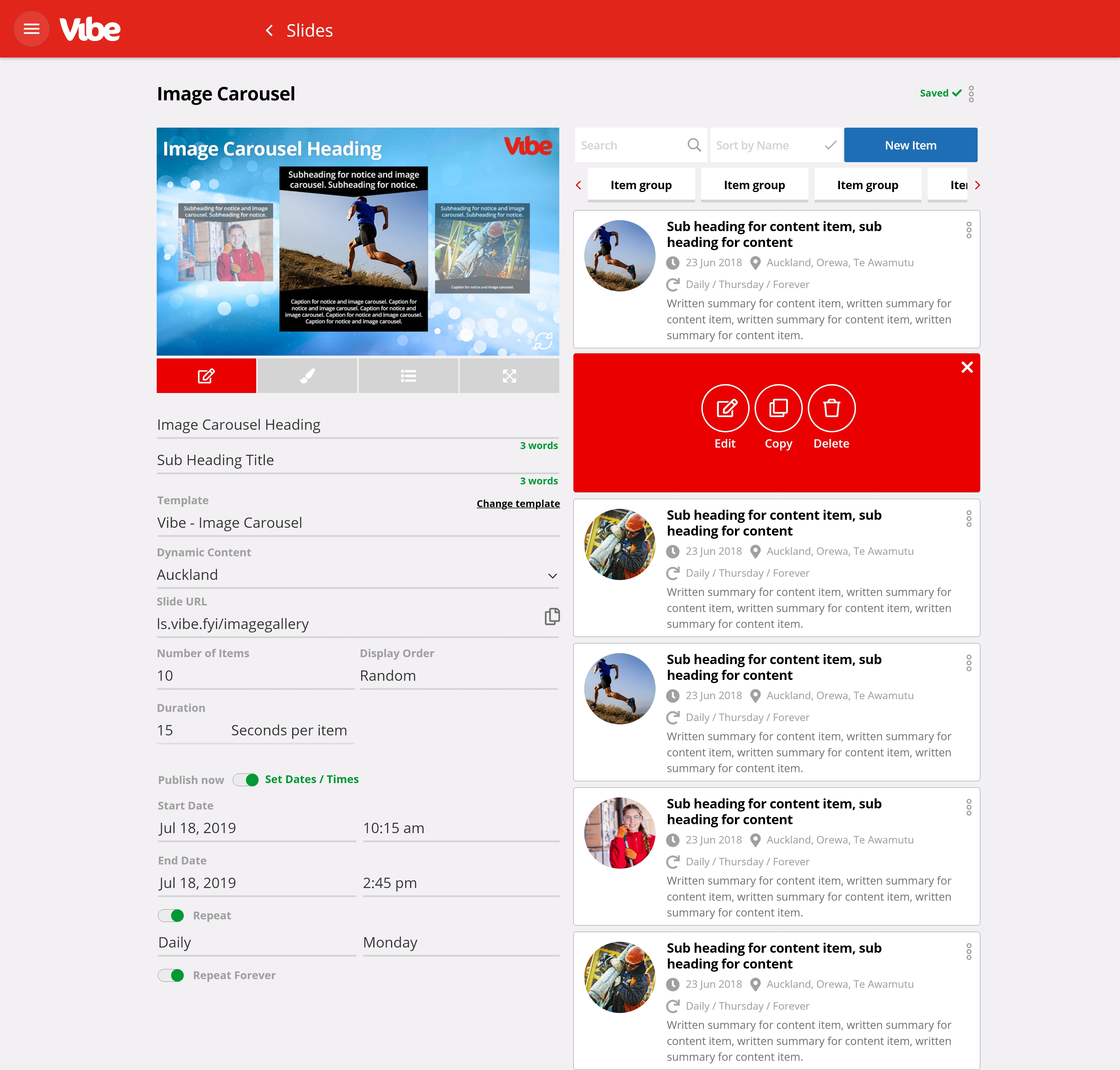 Vibe Slide Manager - design and make changes to your messaging at the click of a button.