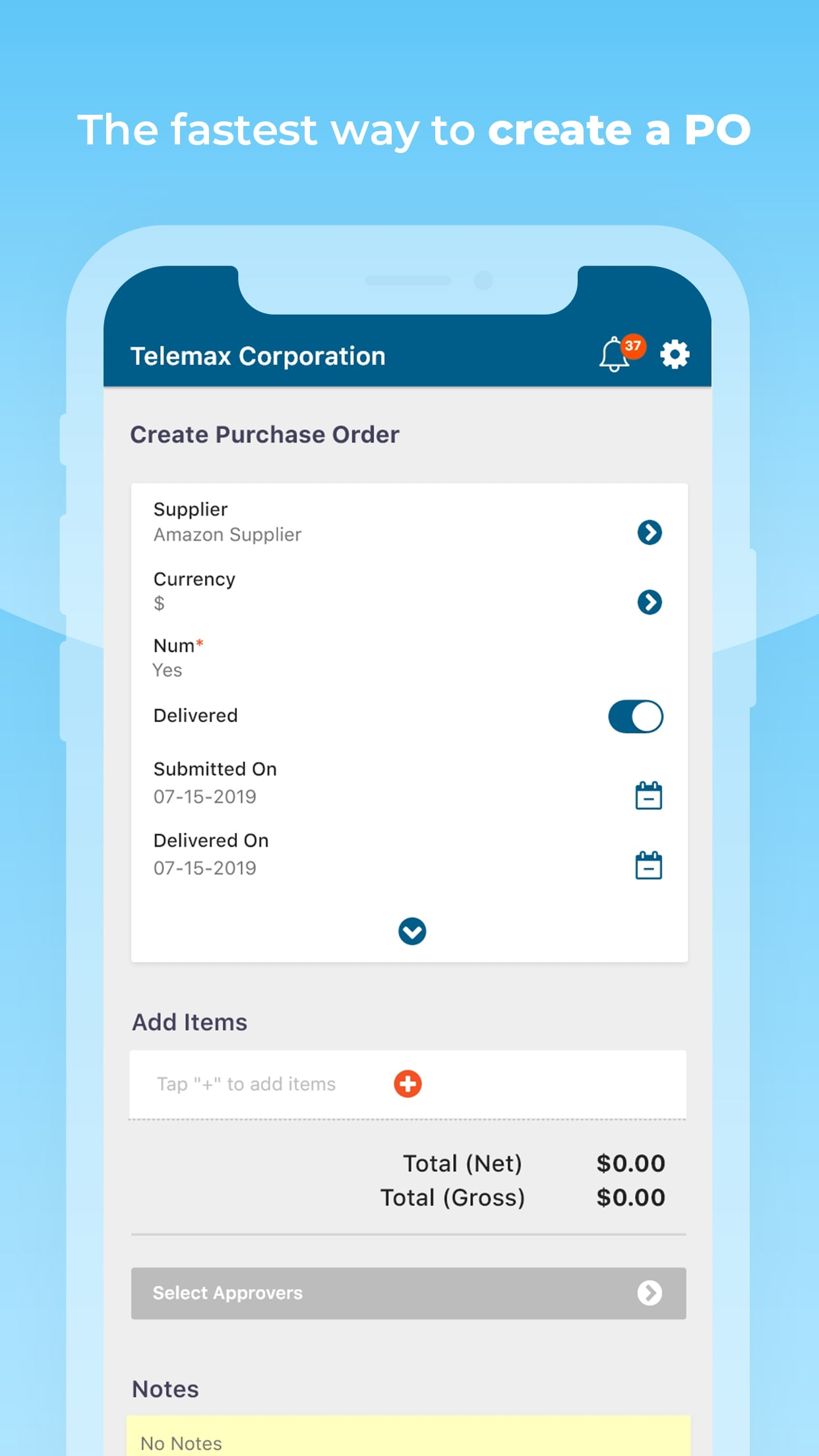 Easily create purchase requests on the go - from any device.