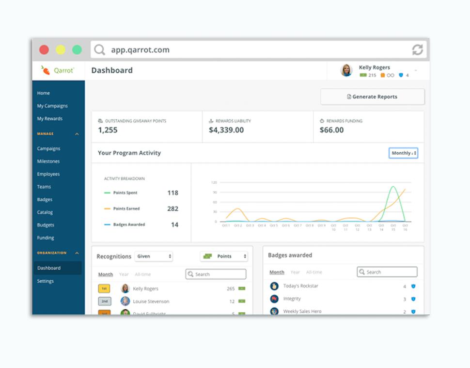 Qarrot Software - Dashboard