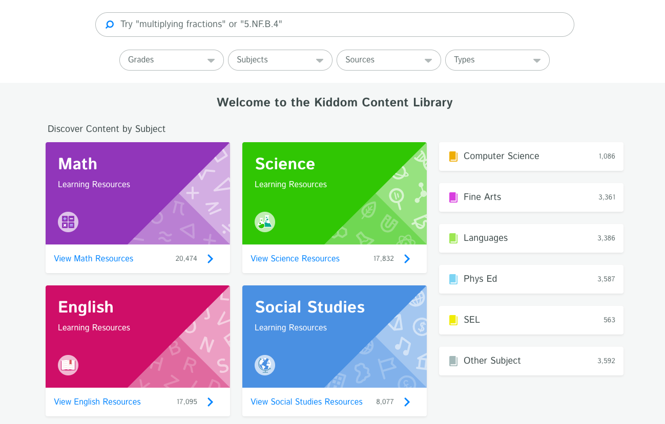 Teachers save time on lesson planning with access to our content library of over 70,000+ standards-aligned resources (including content from CK-12, Newsela, LearnZillion, and more)