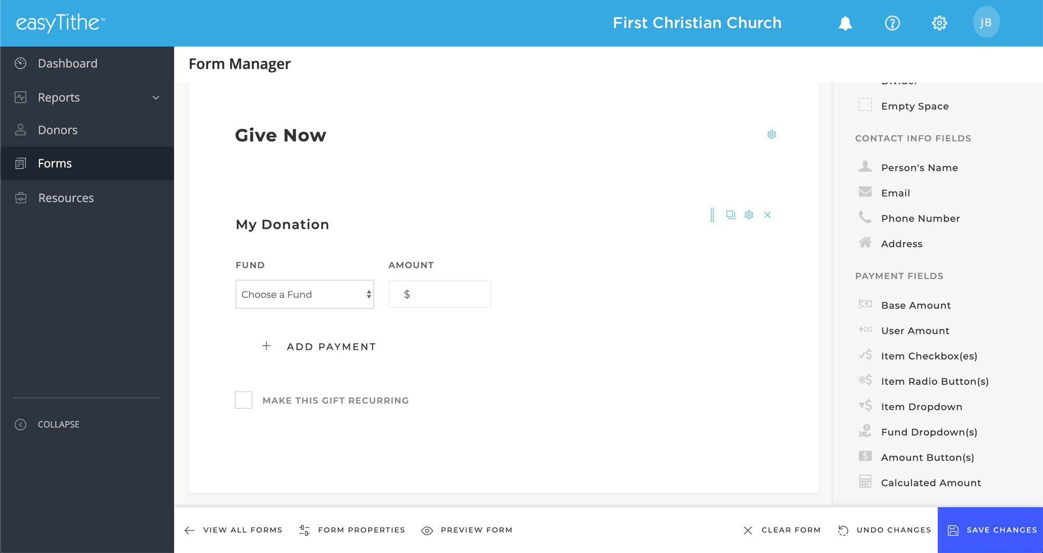 easyTithe donation form manager