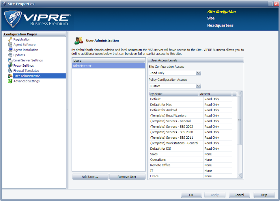 VIPRE Antivirus Business Software - Console view