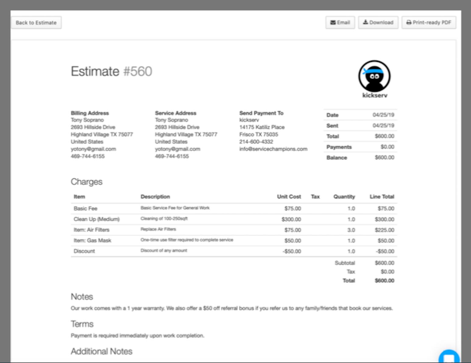 Kickserv Software - Estimates