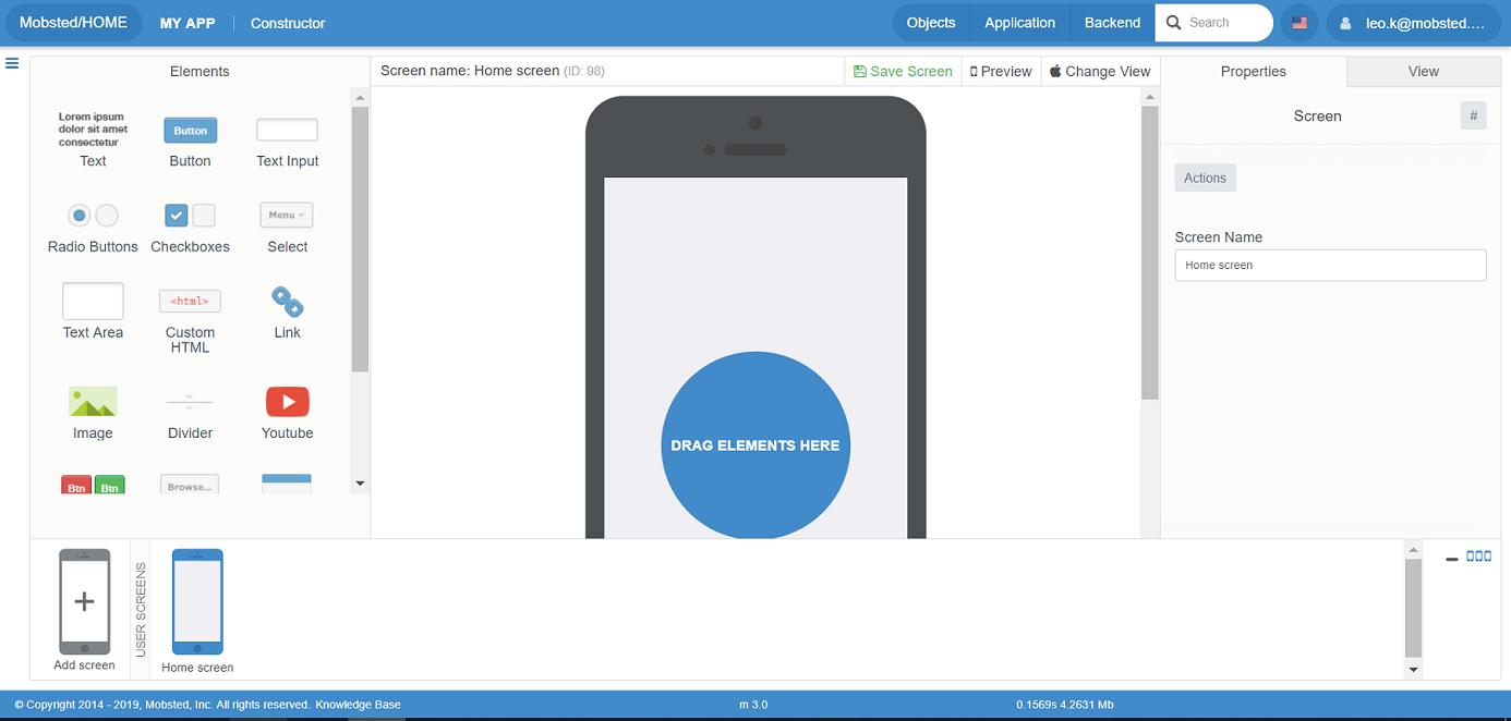 Mobsted drag-and-drop app builder