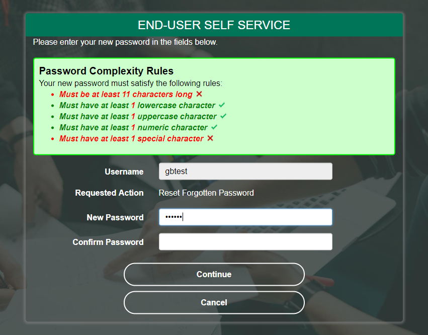 PortalGuard Password Policy