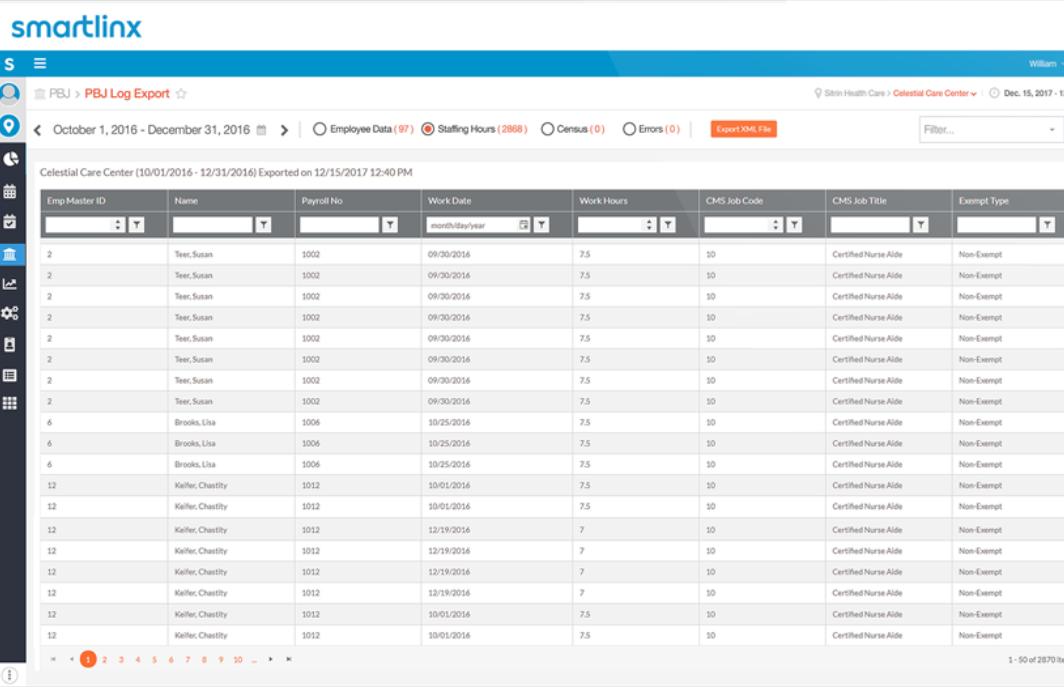 Smartlinx Software - Smartlinx  PBJ log export