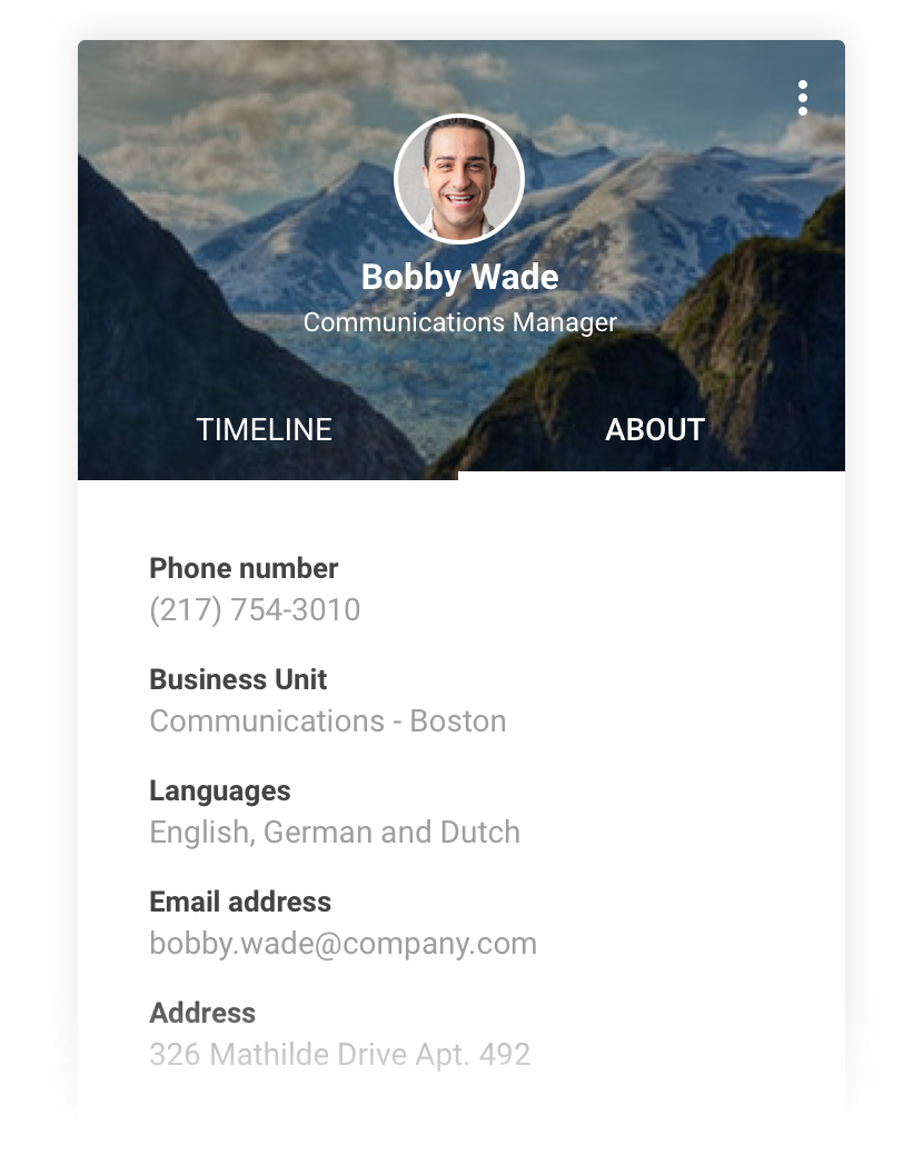 Speakap's extensive profile pages give users instant access to the information on who works where in the organization and what their official designation is