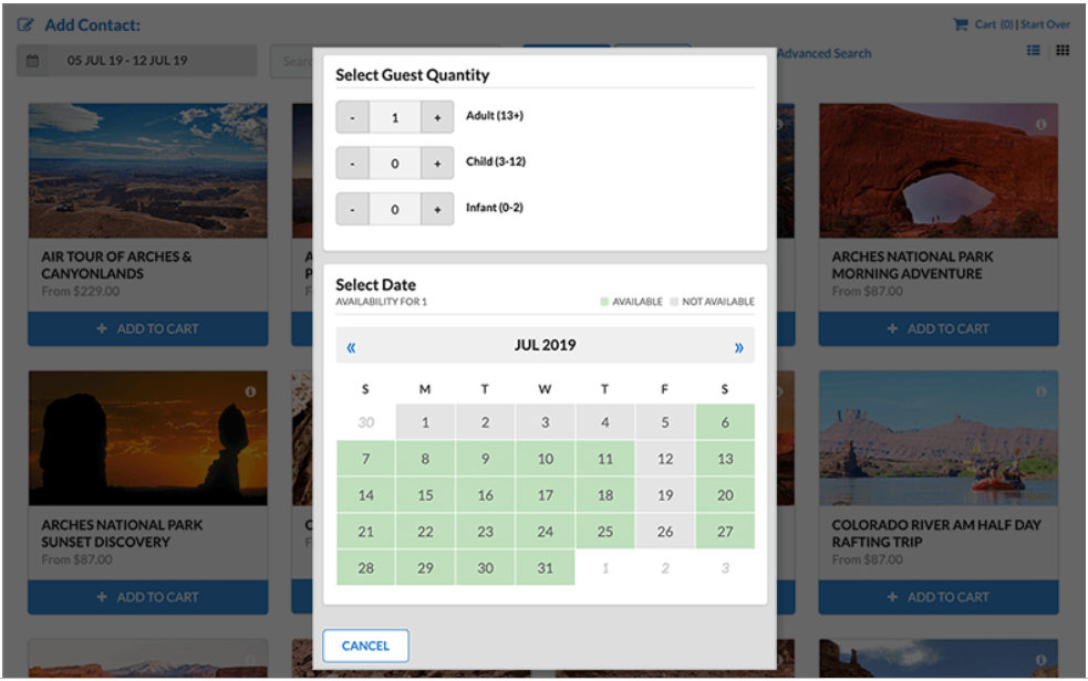 RESMARK activity booking dashboard